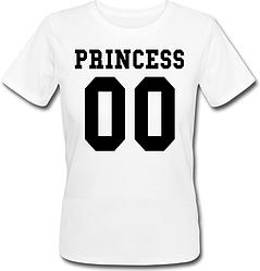 Женская именная футболка PRINCESS (принт спереди) [Цифры можно менять] (50-100% предоплата)