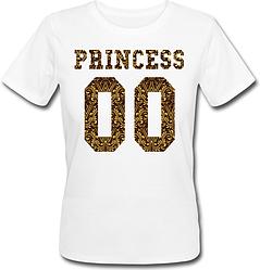 Женская именная футболка PRINCESS - Crowns (принт спереди) [Цифры можно менять] (50-100% предоплата)