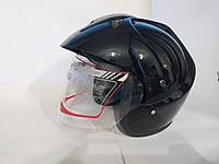 Мото шлем открытый черный  XYZ