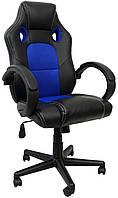 Геймерский компьютерный стул на колесиках кресло игровое геймерское экокожа с подголовником черно синий