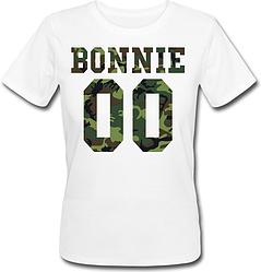 Женская именная футболка BONNIE - Military (принт спереди) [Цифры можно менять] (50-100% предоплата)