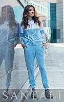 Женский велюровый спортивный костюм с молнией на кофте 45SP850