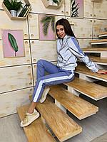 Женский светоотражающий спортивный костюм с мастеркой на молнии 63SP852