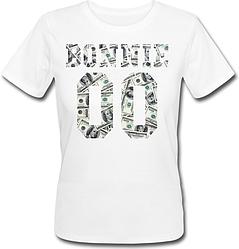 Женская именная футболка BONNIE - Money (принт спереди) [Цифры можно менять] (50-100% предоплата)