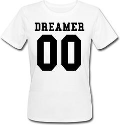 Женская именная футболка DREAMER (принт спереди) [Цифры можно менять] (50-100% предоплата)