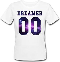 Женская именная футболка DREAMER - Space (принт спереди) [Цифры можно менять] (50-100% предоплата)