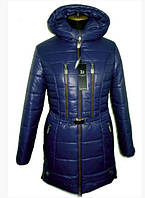 Женская куртка молодежная зимняя с капюшоном на молнии 42-52 р цвет синий