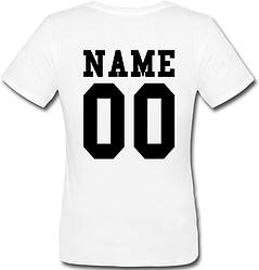 Женская именная футболка (принт сзади) [Цифры имена/фамилии можно менять] (50-100% предоплата)