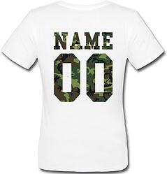 Женская именная футболка - Military (принт сзади) [Цифры имена/фамилии можно менять] (50-100% предоплата)