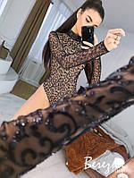 Женское боди гольф с узорной вышивкой на сетке 66BO368Е