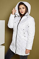 Удлиненная женская стеганная легкая куртка в больших размерах на молнии 31BR535, фото 1