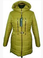 Женская куртка молодежная зимняя с капюшоном на молнии 44-48 р цвет песок