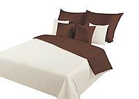 Комплект постельного белья Хлопковый Мако-сатин Двухсторонний Nova M&M 3329 Кремовый, Коричневый