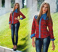 """Стильная женская джинсовая рубашка до XL """"Хром Хартс Клетка"""", фото 1"""