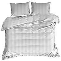Комплект постельного белья Для отелей Микроволокно В полоску M&M 3372 Белый