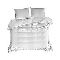 Комплект постельного белья Для отелей Хлопковый В полоску M&M 3587 Белый