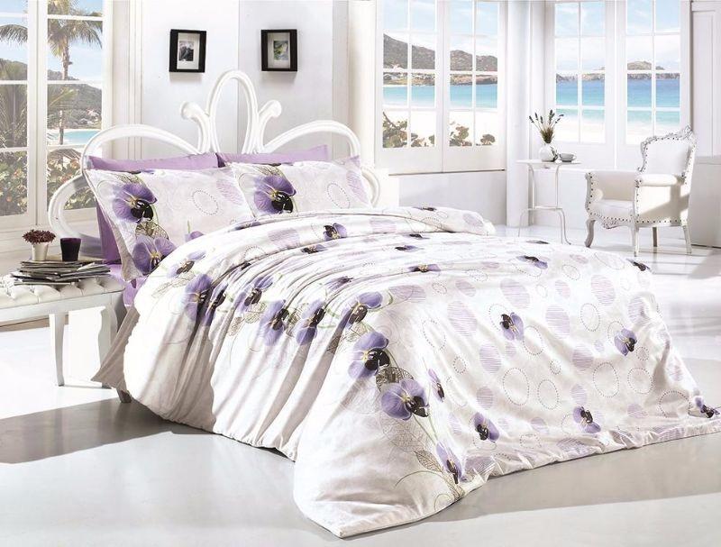 Комплект постельного белья First Choice Ranforce Leora Lila Двуспальный Евро