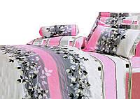 Комплект постельного белья Хлопковый Сатин С цветочным узором A181 M&M 9324 Белый, Черный, Розовый, Кремовый