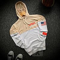Худи мужское NASA USA white-beige | кофта мужская весенняя-осенняя ЛЮКС