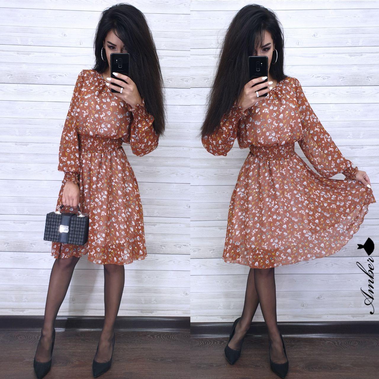 Шифонова принтована сукня з гумкою на талії і пишною спідницею 8py943