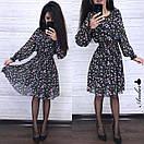 Шифоновое принтованное платье с резинкой на талии и пышной юбкой 8py943, фото 2