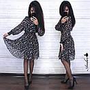 Шифоновое принтованное платье с резинкой на талии и пышной юбкой 8py943, фото 3