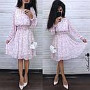 Шифоновое принтованное платье с резинкой на талии и пышной юбкой 8py943, фото 4