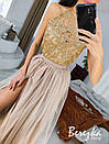 Длинное платье с пышной фатиновой юбкой и кружевным верхом без рукава 66py951Е, фото 5