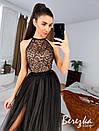 Длинное платье с пышной фатиновой юбкой и кружевным верхом без рукава 66py951Е, фото 8