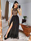 Длинное платье с пышной фатиновой юбкой и кружевным верхом без рукава 66py951Е, фото 9