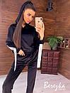 Бархатный женский спортивный костюм со свободной олимпийкой и зауженными штанами 66so857Q, фото 2
