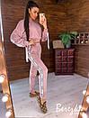Бархатный женский спортивный костюм со свободной олимпийкой и зауженными штанами 66so857Q, фото 3