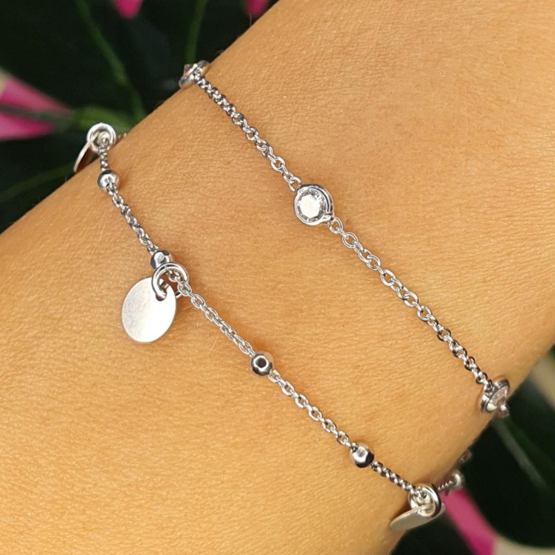 Подвійний срібний браслетик з каменями і монетами