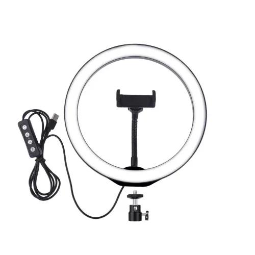 Светодиодное кольцо селфи  на штатив с держателем для телефона и регулятором, диаметр 26 см