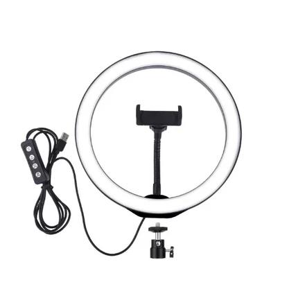 Светодиодное кольцо селфи  на штатив с держателем для телефона и регулятором, диаметр 26 см, фото 2