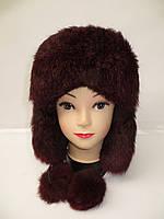 Меховая модная женская шапка ушанка (мех кролика)