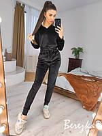 Женский бархатный спортивный костюм с зауженными штанами и укороченной кофтой 66rt853Q