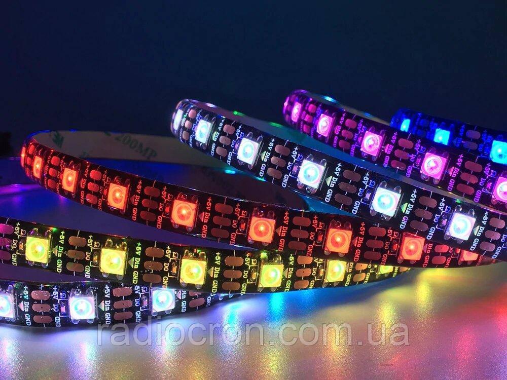 Світлодіодна стрічка WS2812B, RGB, IP30, 30 Світлодіодів/м, 5В, 1м, Біла підкладка
