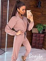 Спортивный женский костюм с укороченным бомбером и молнией на груди 66rt856Q