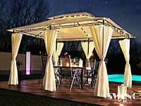Павильон Swing & harmonie 3 х 4 м Бежевый с LED подсветкой от солнечной батареи