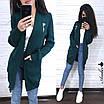 Женский вязаный кардиган на запах с карманами и шерстью в составе 8kz246, фото 4
