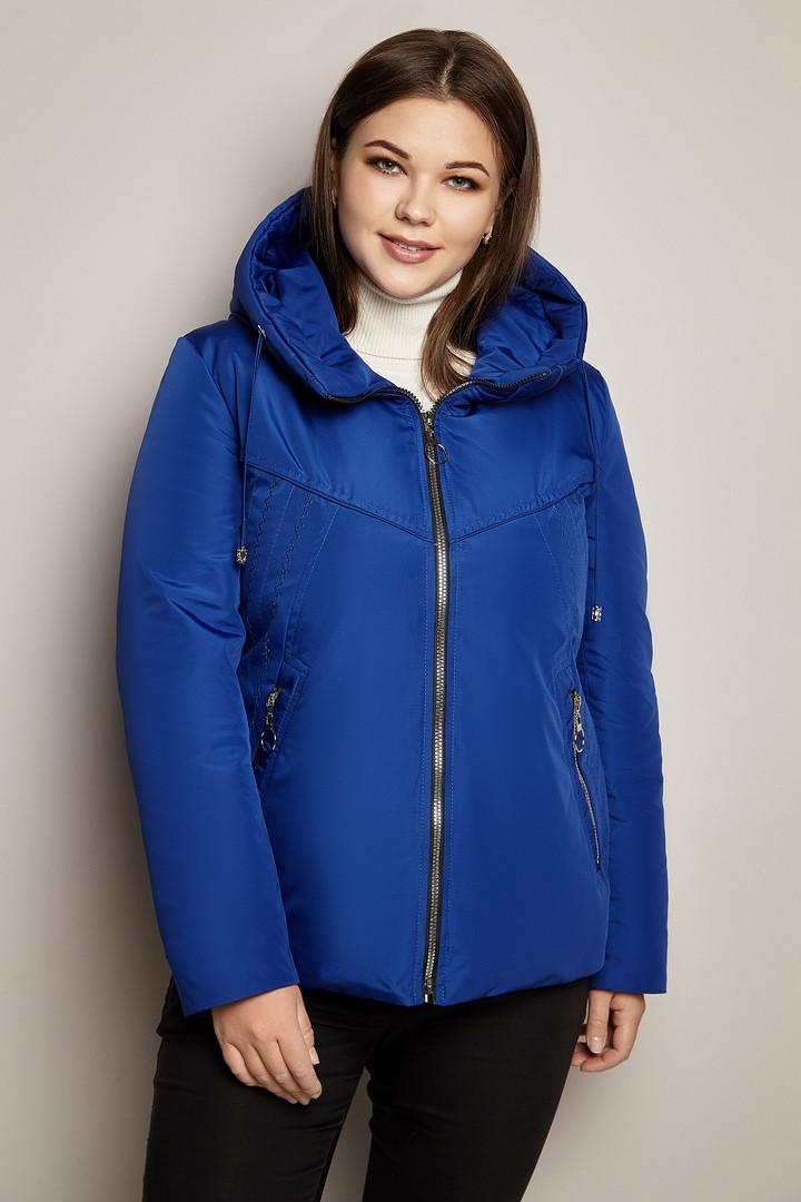 Женская короткая демисезонная куртка в больших размерах на молнии 31uk533