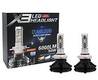 Светодиодные LED лампы X3 H3 для автомобиля | автолампы HEADLIGHT 6000K/6000Lm | автомобильные лед лампы