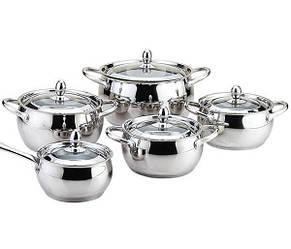 Набор посуды из нержавеющей стали 10 предметов Maestro Jambo Apple MR-3509-10 | кастрюля Маестро, ковш Маэстро