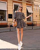 Стильное летнее платье, (40-46рр), принт лео темный, фото 1