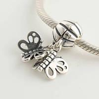 Шарм подвеска бабочки Pandora Друзья навсегда, серебро