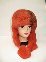 Женская зимняя шапка ушанка - мех кролика