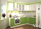 Салатовая кухня на заказ изготовление п-образной с барной стойкой в стиле прованс, фото 3