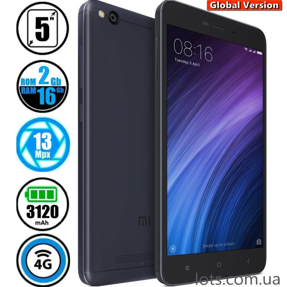 Смартфон Xiaomi Redmi 4A (2/16Gb) Grey Global Version + Подарок Защитное Стекло