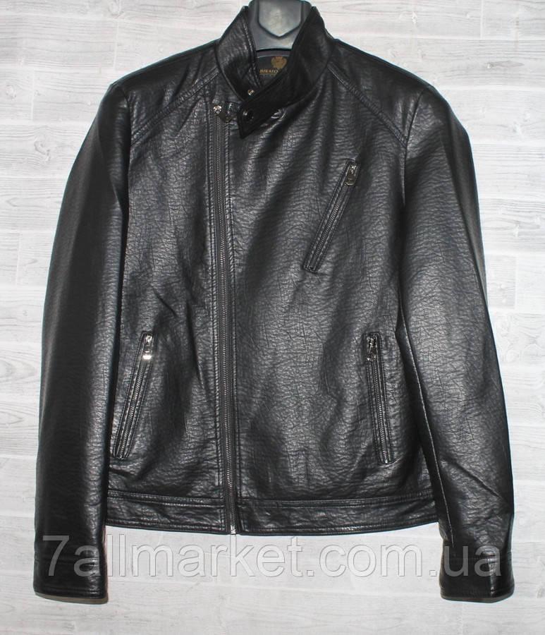 """Куртка-косуха чоловіча демісезонна кожзам, стійка, розміри 46-58 (2цв) """"JOKER"""" недорого від прямого постачальника"""